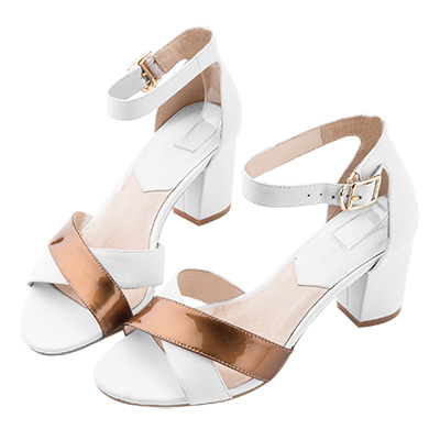 Robinlo Studio 金屬質感牛皮交叉粗跟涼鞋 白色
