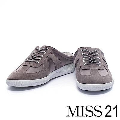 拖鞋 MISS 21 街頭隨性拼接綁帶休閒拖鞋-灰