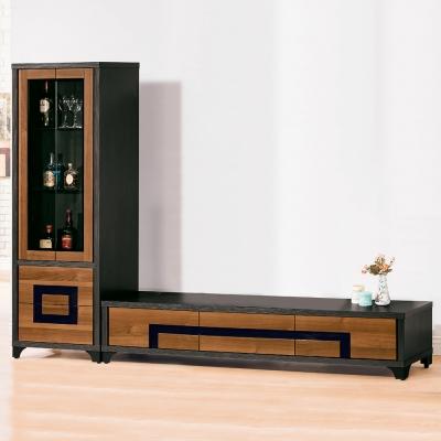Bernice-亞歷8尺L型電視櫃組合(展示櫃+長櫃)-240x40x184cm