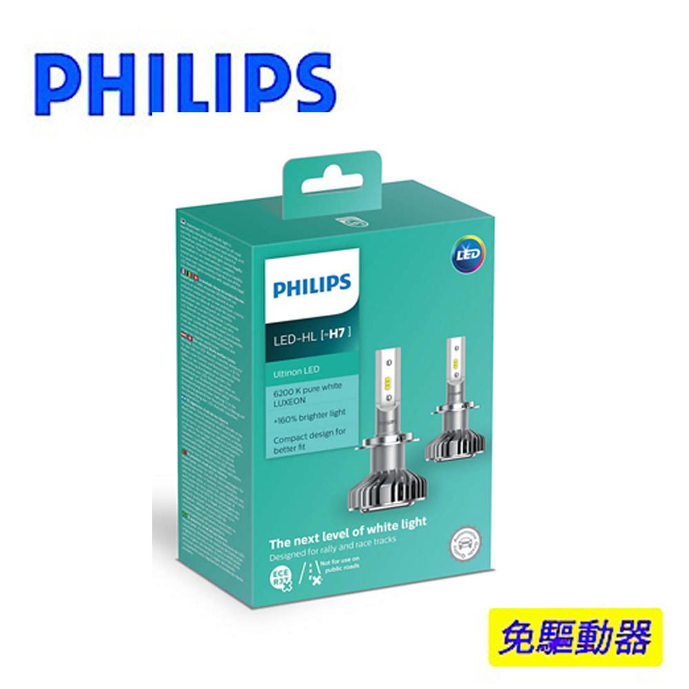 PHILIPS 飛利浦Ultinon晶亮LED H7頭燈兩入裝(公司貨)