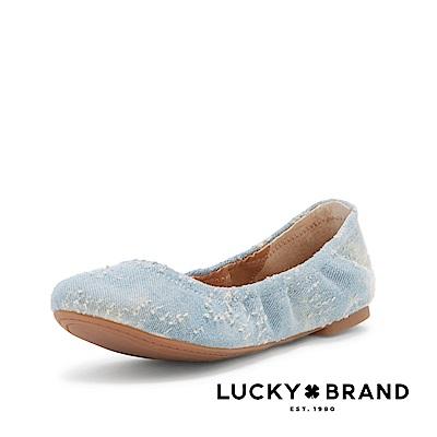 LUCKY BRAND--素面鬆緊圓頭平底鞋-湖水藍