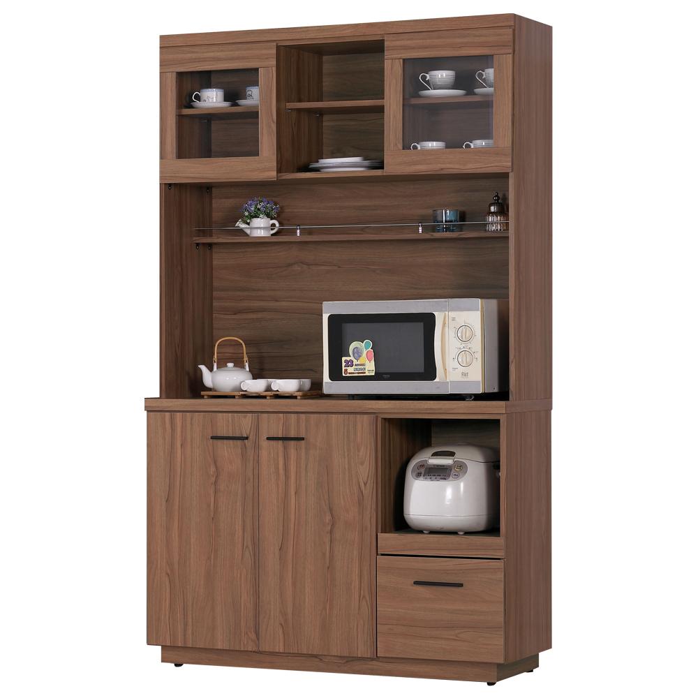愛比家具 堤比4尺柚木色餐櫃全組