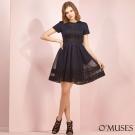 太空網紗蕾絲修身洋裝-OMUSES