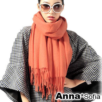 AnnaSofia-簡約素面-厚織羊毛披肩-圍巾-桔紅