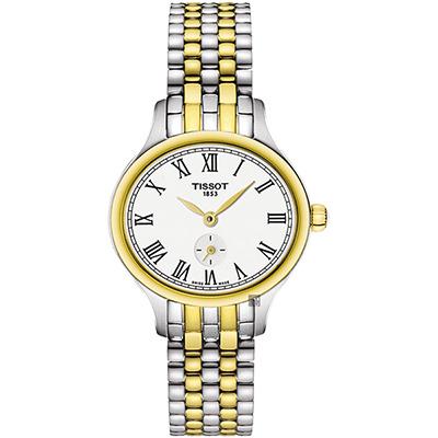 TISSOT 天梭 Bella Ora 臻時系列小秒針女錶-銀x雙色版/27mm