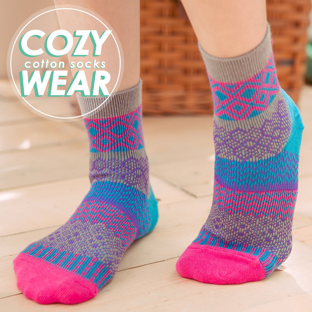 蒂巴蕾 COZY WEAR 雙針棉襪-波希米亞