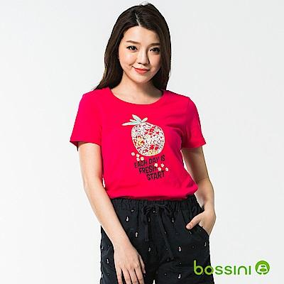 bossini女裝-印花短袖T恤40亮桃紅
