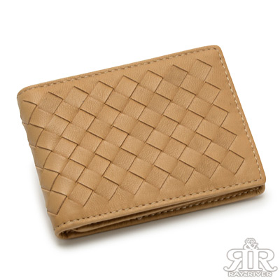 2R 細呢鬆軟 羊皮編織名片信用卡夾 經典卡其
