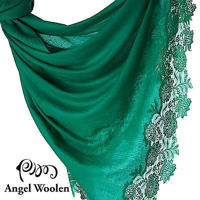 【ANGEL WOOLEN】印度手工法國蕾絲披肩圍巾(綠光森林)