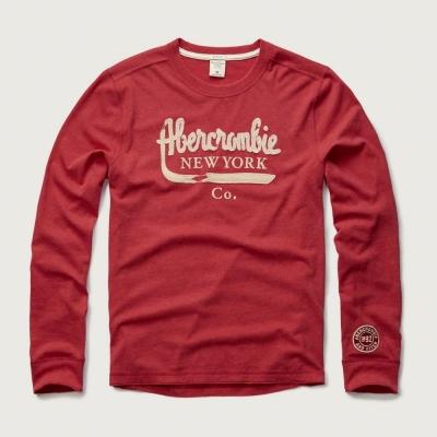 AF a&f Abercrombie & Fitch 長袖 T恤 紅色 158