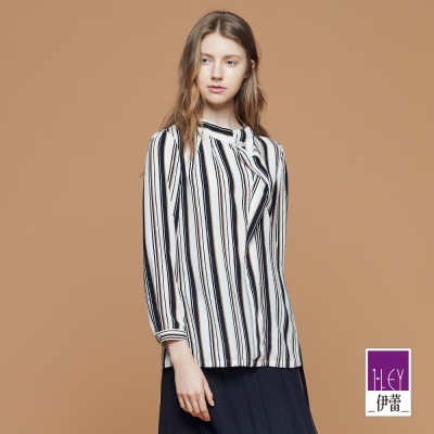 ILEY伊蕾 條紋印花縫褶裝飾上衣魅力價商品(米)