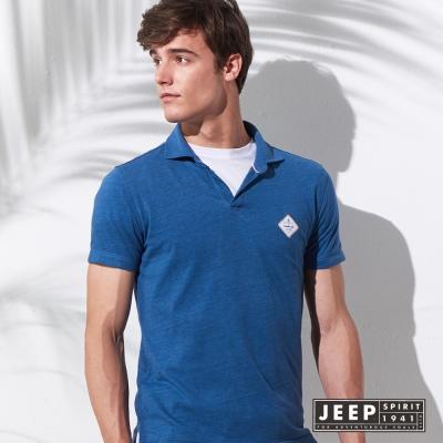 JEEP 簡約亨利領短袖POLO衫 (藍色)