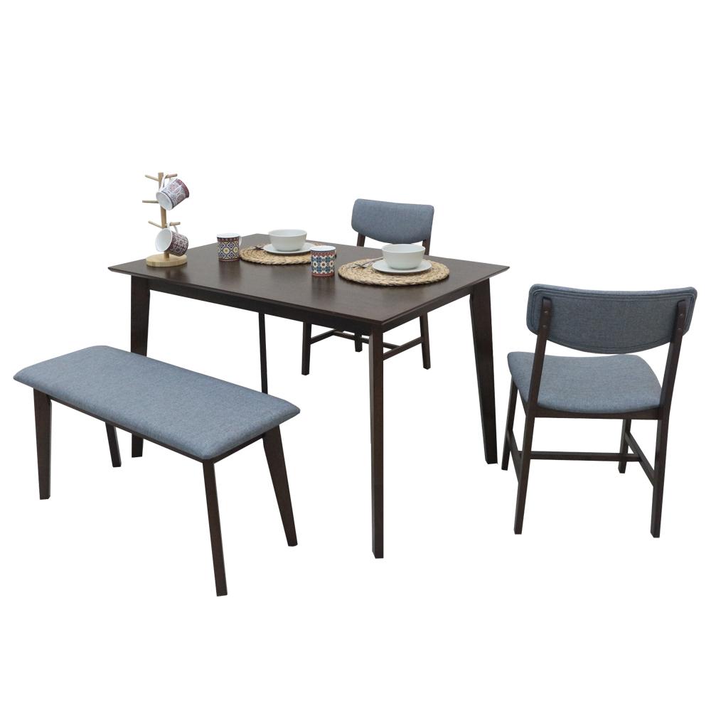 AT HOME-日系簡約4尺胡桃餐桌椅組-一桌二椅一凳(120*80*75cm)