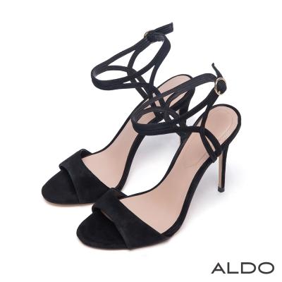 ALDO-性感幾何金屬釦環繞踝細高跟晚宴涼鞋-尊爵黑色