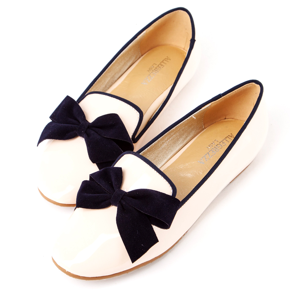 ALLEGREZZA‧LADY系列‧優雅蝴蝶結樂福鞋 粉膚色