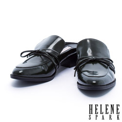 拖鞋 HELENE SPARK 簡約綁帶蝴蝶結純色穆勒粗跟拖鞋-綠