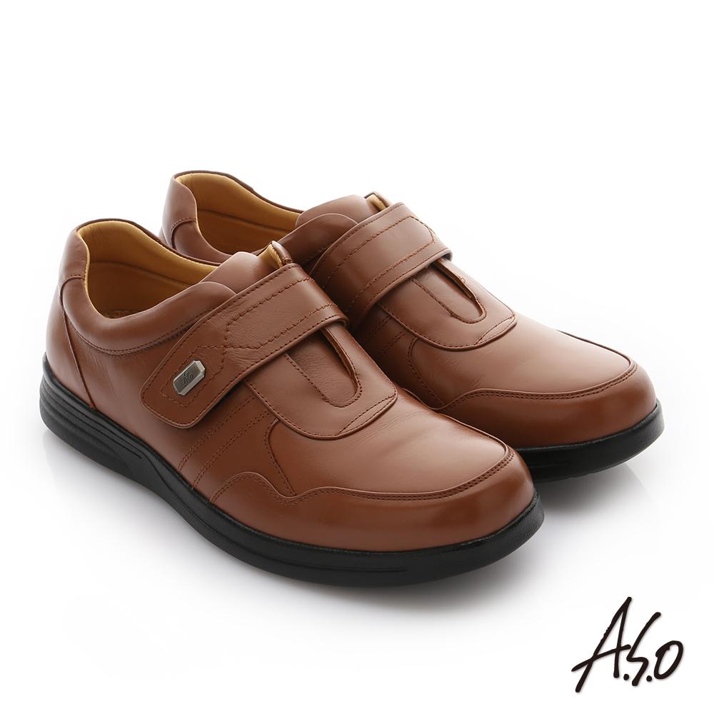 A.S.O 頂級氣墊彈力勁步 油感牛皮奈米魔鬼氈皮鞋 茶色
