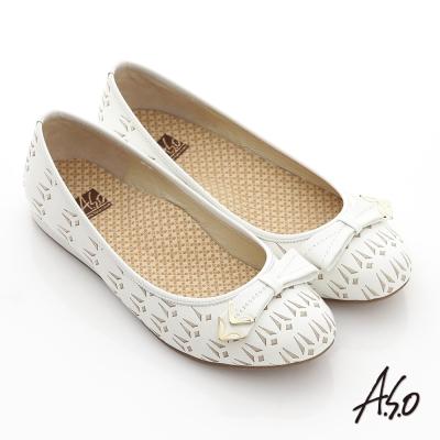 A.S.O 活力勁步 全真皮金屬釦飾壓紋平底休閒鞋 白