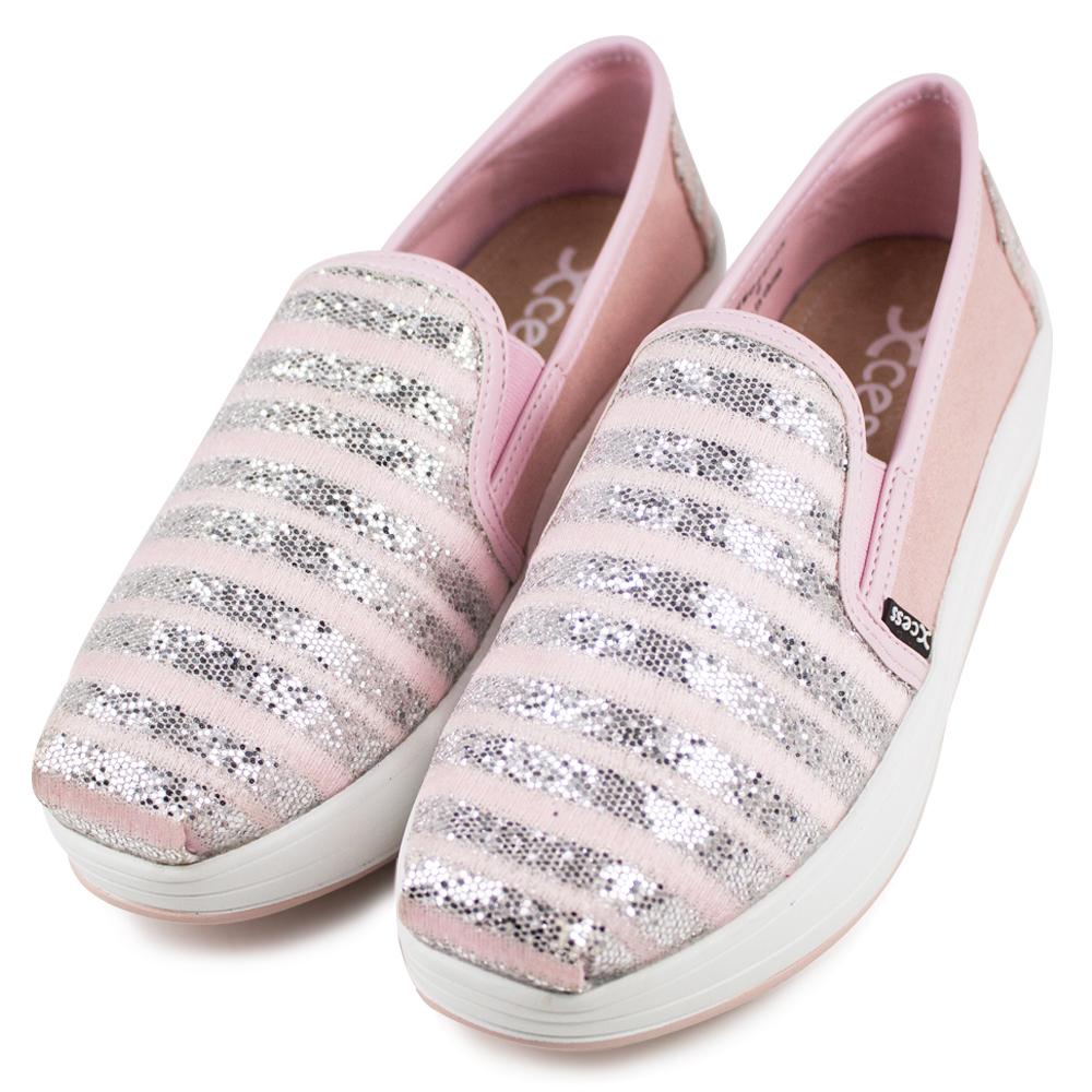 XCESS-女增高鞋GW044PIN-水晶條紋粉紅