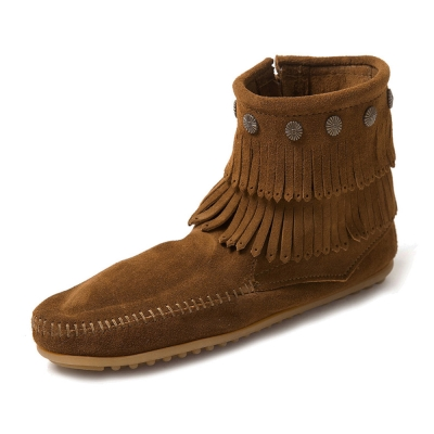 MINNETONKA-SIDE ZIP雙層麂皮流蘇踝靴-咖啡色