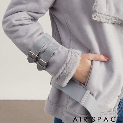 AIR SPACE 翻領鋪毛腰帶麂皮絨夾克外套(灰)