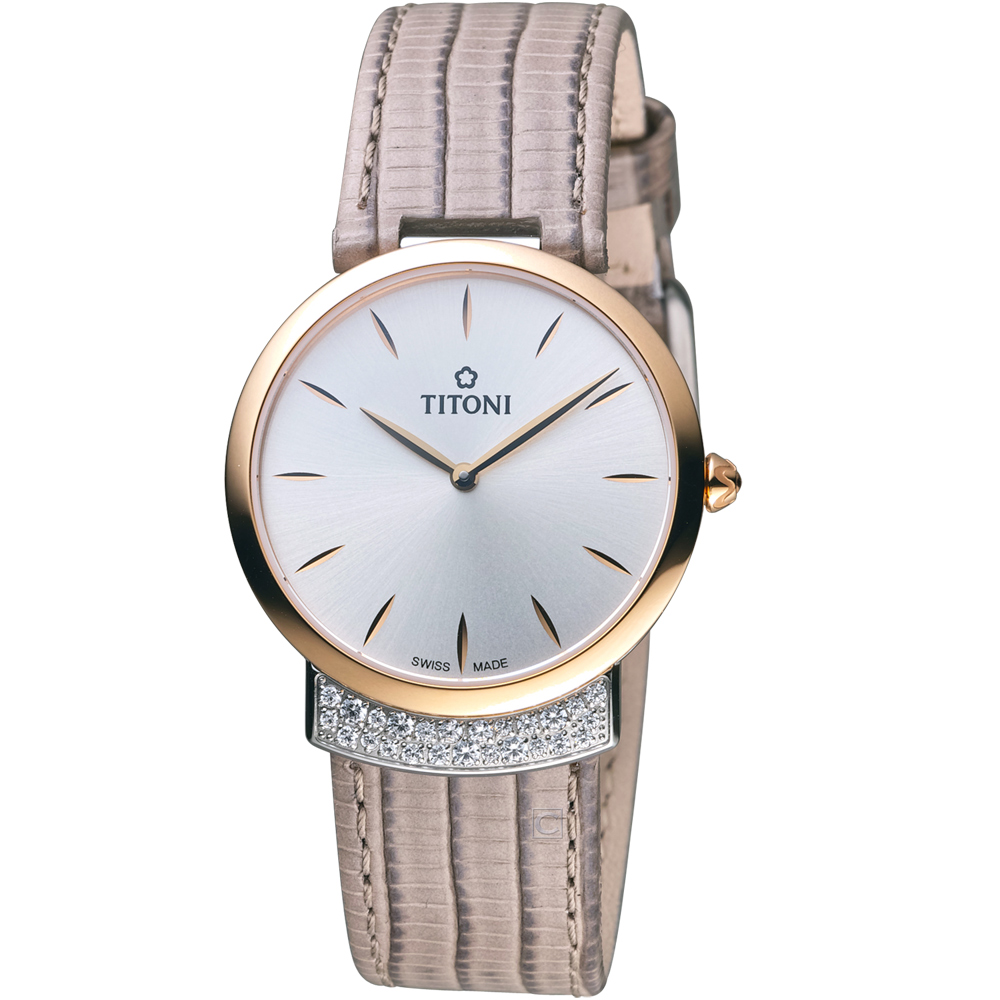 TITONI MADEMOISELLE優雅伊人系列皮革腕錶-卡其灰色/32mm