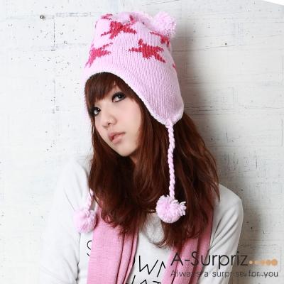 A-Surpriz 星星圖樣毛球辮子毛線帽(粉)