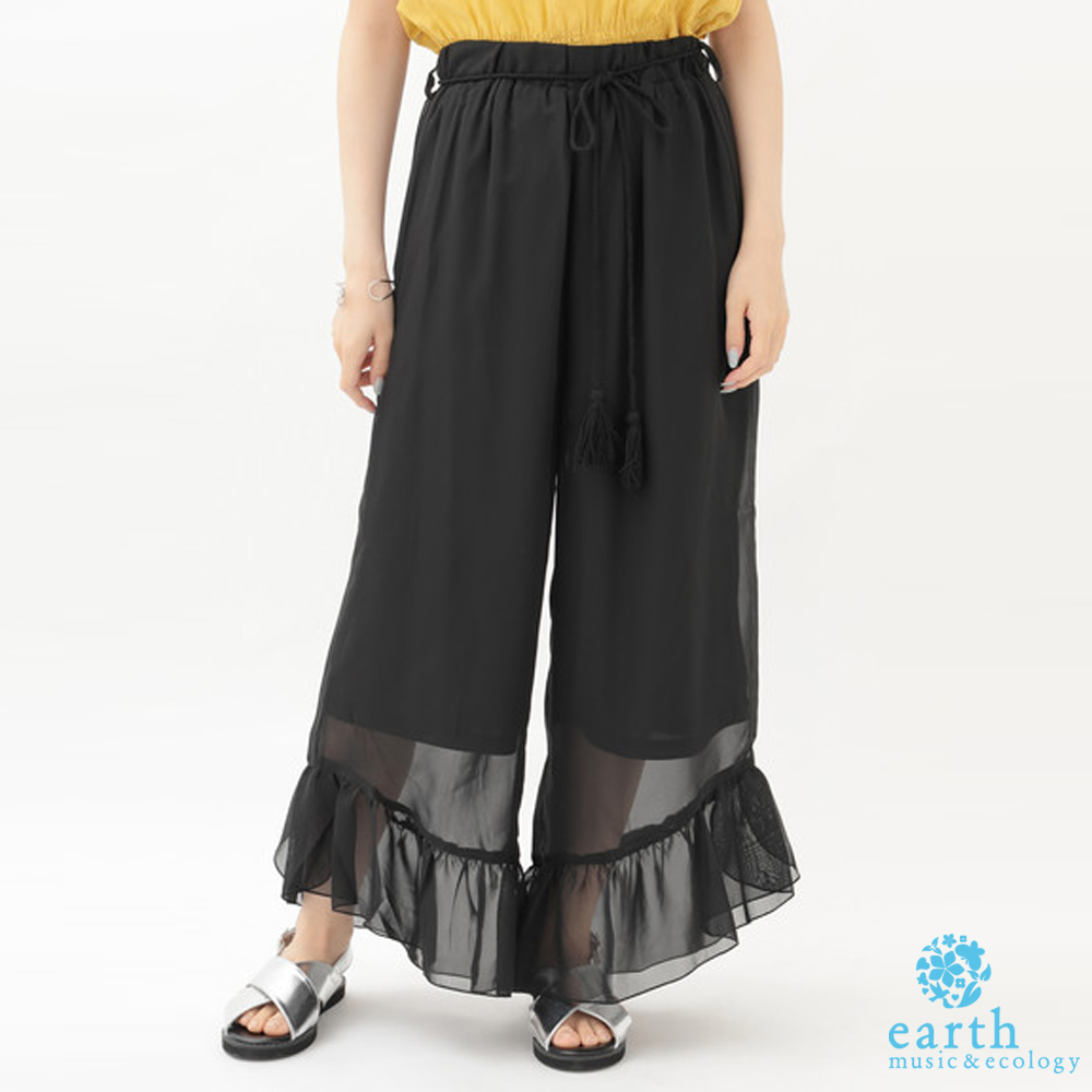earth music 荷葉邊設計腰綁帶寬褲