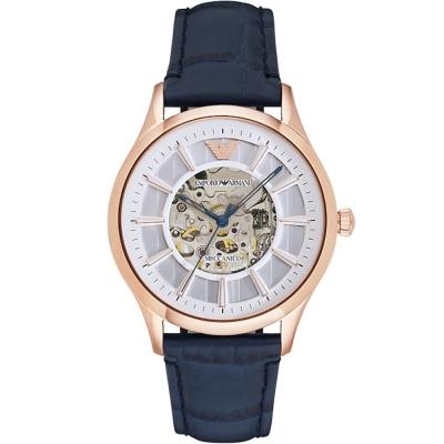 ARMANI 亞曼尼紳士時尚真皮鏤空機械錶-銀X玫瑰金框/43mm