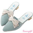 Disney collection by grace gift花邊金屬低跟穆勒鞋 藍