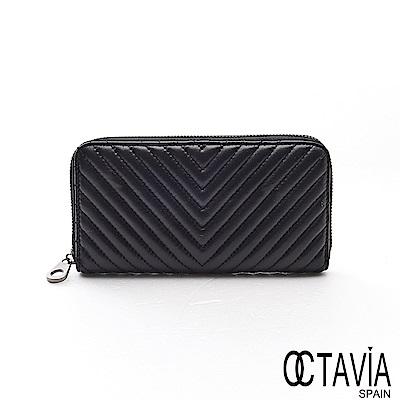OCTAVIA8真皮 - 勝利的姿態  V字水波紋全拉式羊皮長夾- V紋黑