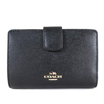 COACH-金馬車Logo鵝卵石紋皮革壓扣式中夾-黑色