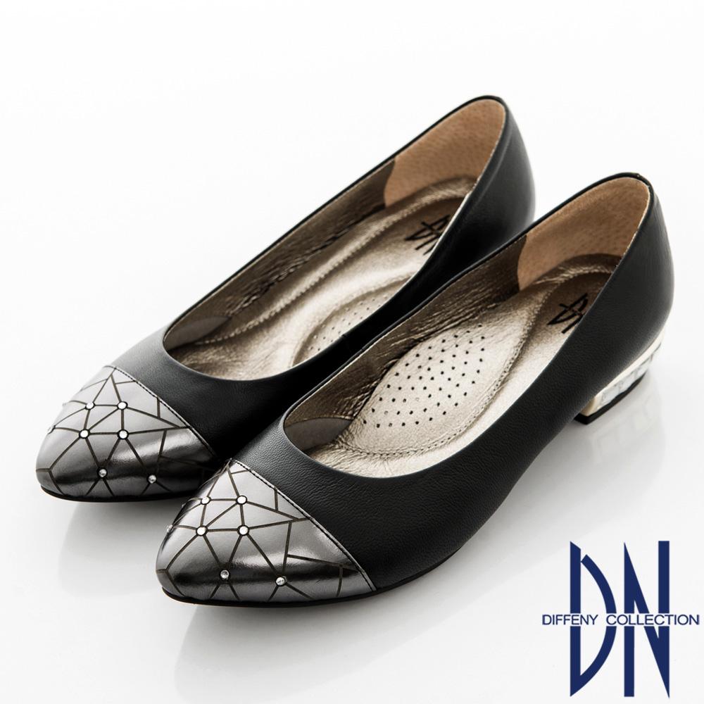 DN 法式風情 MIT水鑽拼接羊皮尖頭鞋 黑