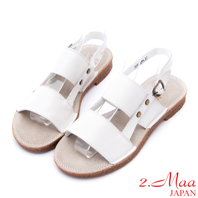 2.Maa - 復古打蠟小牛皮飾釦二字帶涼鞋 - 白