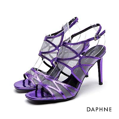達芙妮DAPHNE 高跟鞋-細帶拼接網紗高跟涼鞋-紫