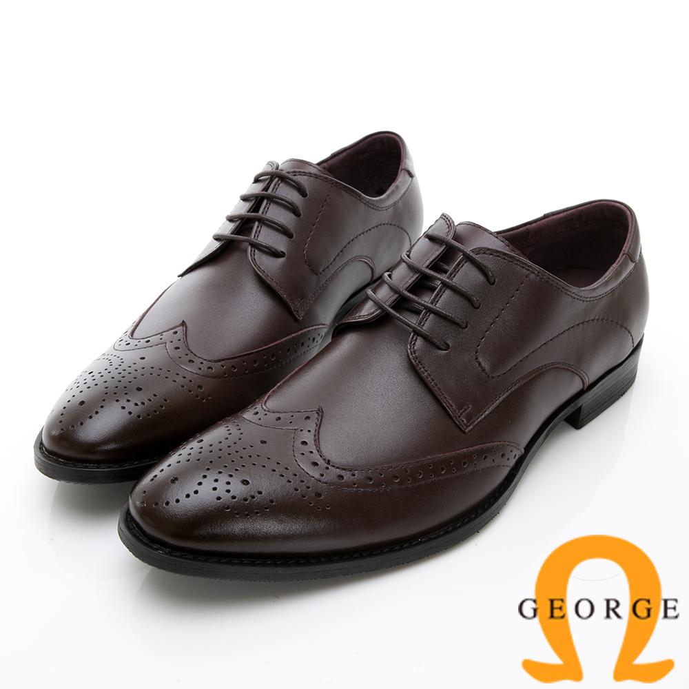 GEORGE 喬治-時尚職人系列 皮革拼接牛津鞋紳士鞋皮鞋氣墊鞋 男鞋-酒紅