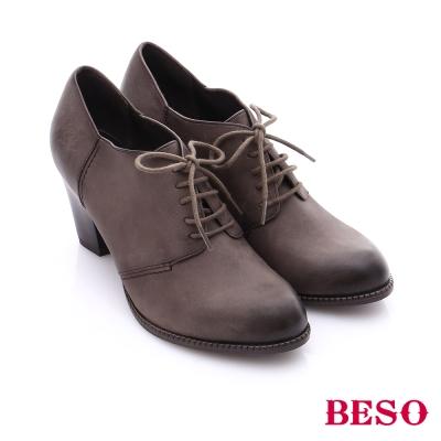 BESO 簡約知性 雙色牛皮粗高跟踝靴 灰色