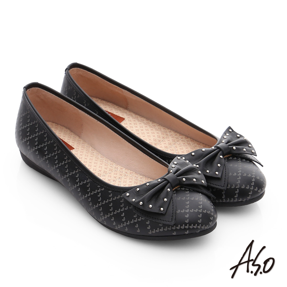 A.S.O 親漾漫步 真皮鉚釘蝴蝶結飾格紋平底鞋 黑色