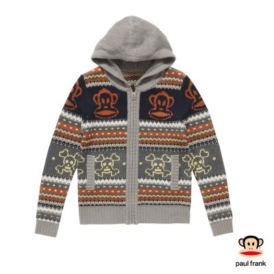 PAUL FRANK-針織LOGO連帽保暖外套-灰色(女)