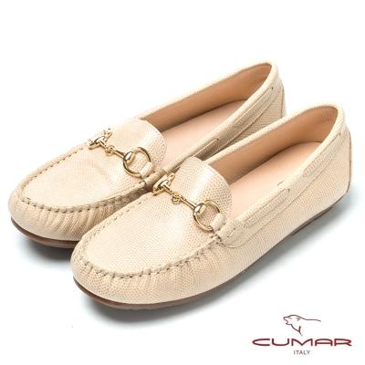 CUMAR台灣製造 嚴選真皮舒適平底樂福鞋-粉米色