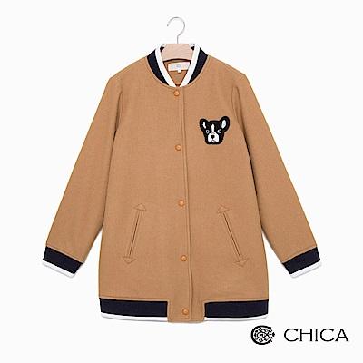 CHICA 復古校園大頭狗長版羊毛布勞森外套(3色)
