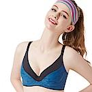 思薇爾 K.K Fit系列C-F罩軟鋼圈小全罩素面運動內衣(瓷器藍)
