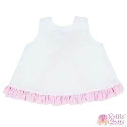 RuffleButts 小女童純白粉紅荷葉邊裙擺衣