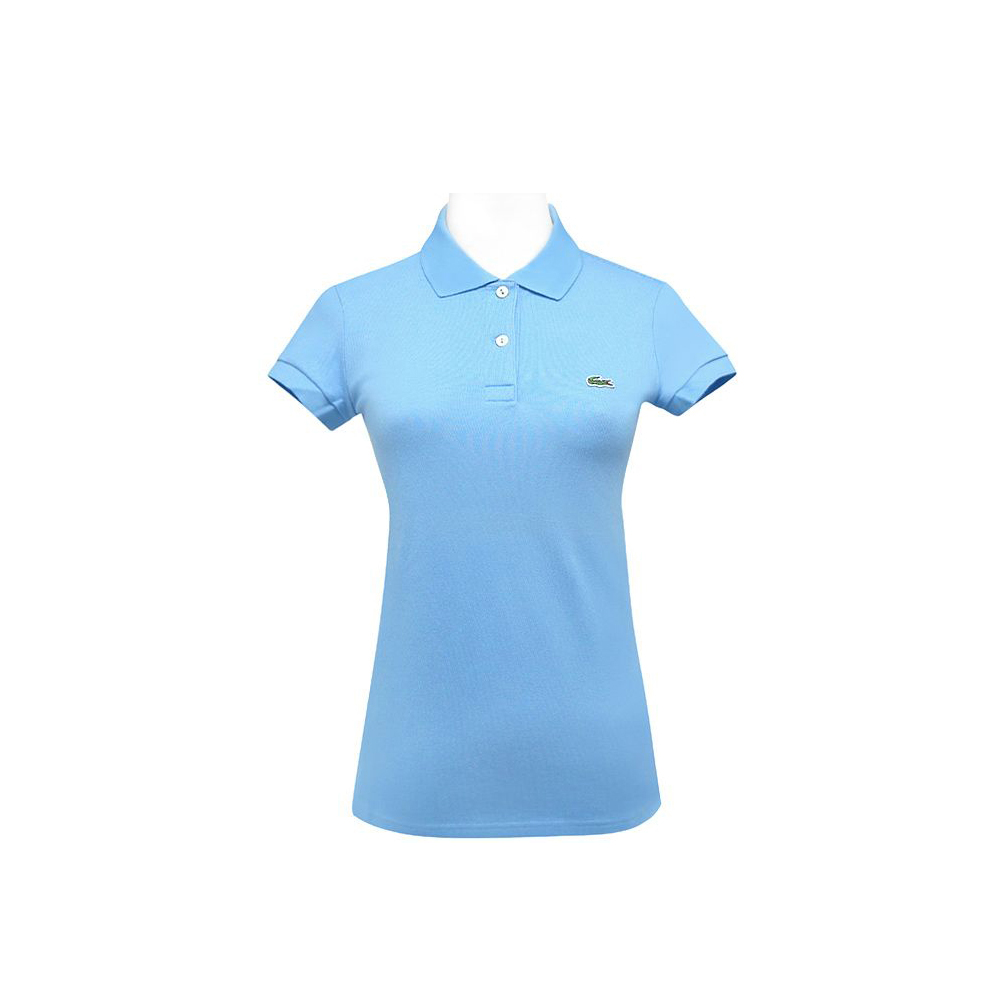 LACOSTE 藍色鱷魚標誌短袖POLO衫(10-12歲)