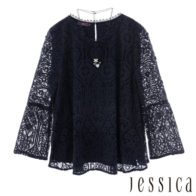 Jessica-飄逸蕾絲造型上衣-深藍