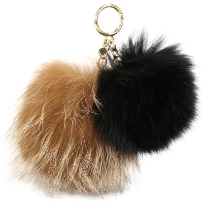 Michael Kors Twin Fur 狐狸毛雙毛球吊飾鑰匙圈(棕x黑)
