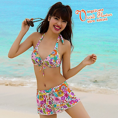【AngelLuna日本泳裝】活潑印花三件式比基尼泳衣-粉色短褲