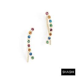SHASHI 紐約品牌 圓形彩鑽貼合耳廓耳環 925純銀鑲18K金 Noa Climber