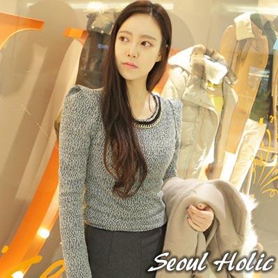 【Seoul Holic】奢華鍊飾點綴公主袖上衣 (白色)