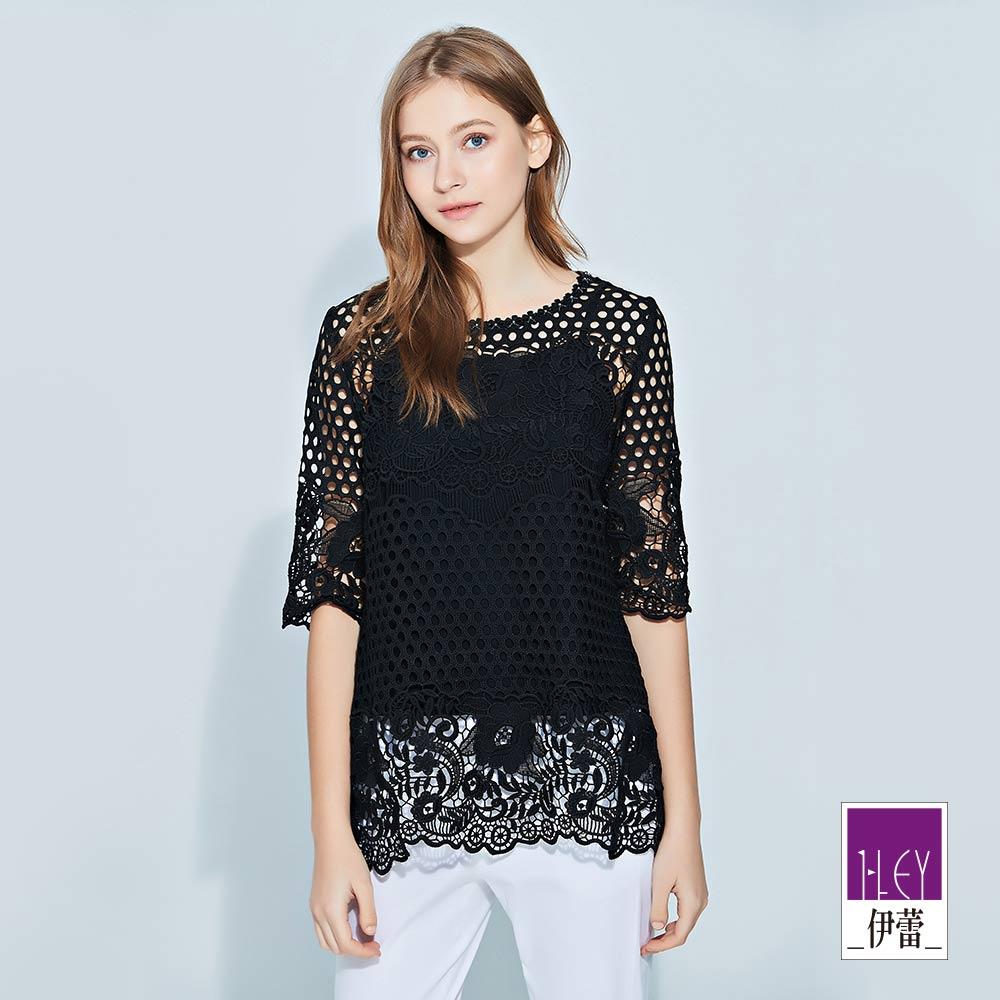 ILEY伊蕾 圓點花卉蕾絲兩件式長版上衣(黑/白)